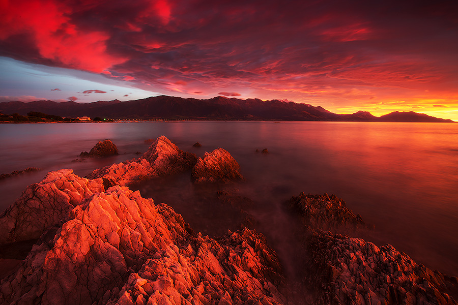 An incredible dawn from the Kaikoura peninsula