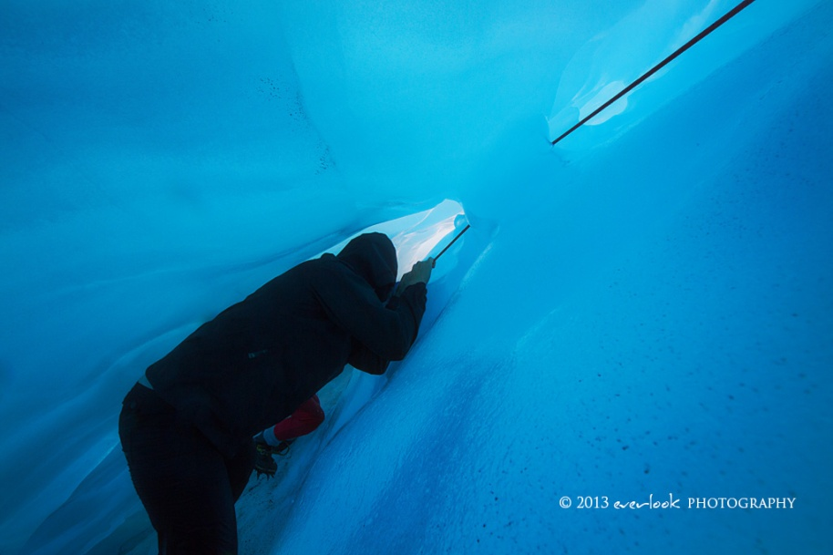 Cramming into Ice Caves on the middle glacier